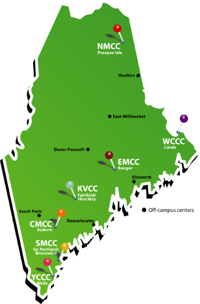 Map showing locations of community colleges in Maine